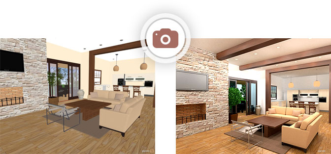 will get photorealistic 3d visualisation or the render of your project you can share these visualisations with your friends colleagues or patterns - 3d Home Design