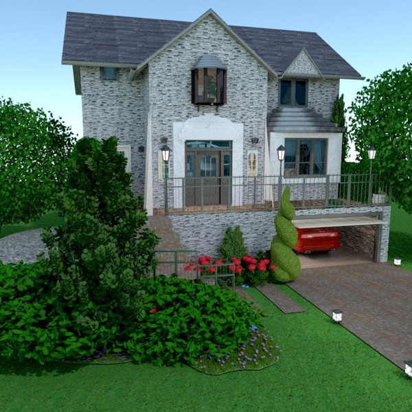 fotos casa garagem área externa paisagismo arquitetura ideias