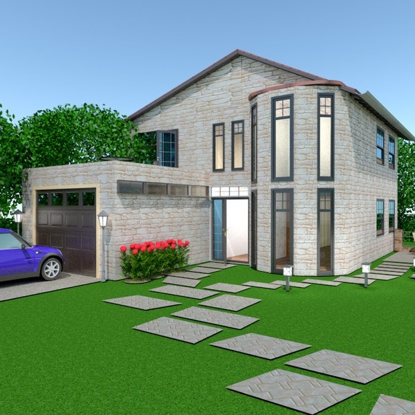 photos maison terrasse garage extérieur paysage idées