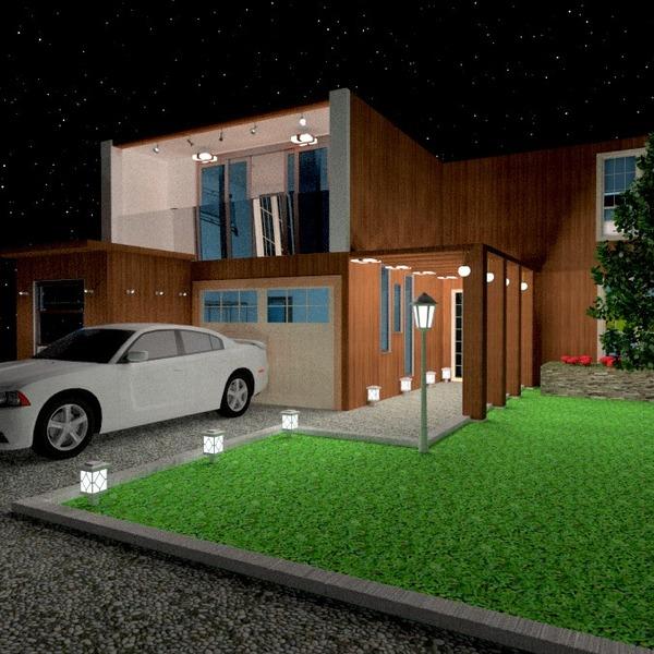 fotos casa garagem área externa iluminação paisagismo ideias