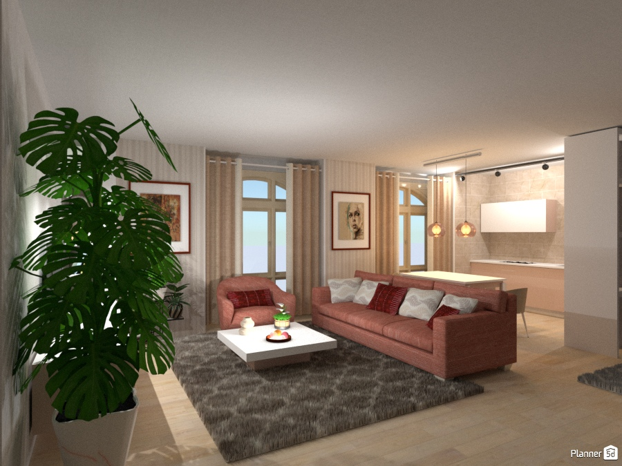 Living vista cucina e sala da pranzo - Apartment ideas - Planner 5D