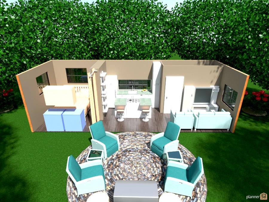 30\' x 10\' storage container home inside - Apartamento ideas - Planner 5D