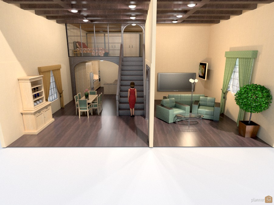 Loft bedroom beamed ceiling apartamento ideas planner 5d for Cocina estar comedor