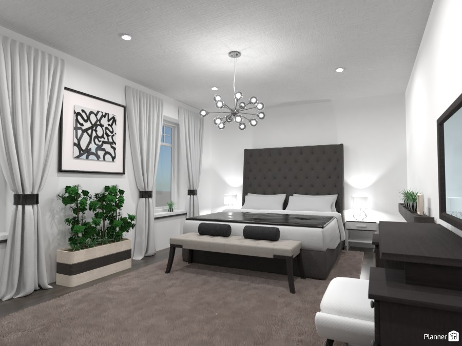 Luxurious bedroom: black and white 4351352 by Gabes image