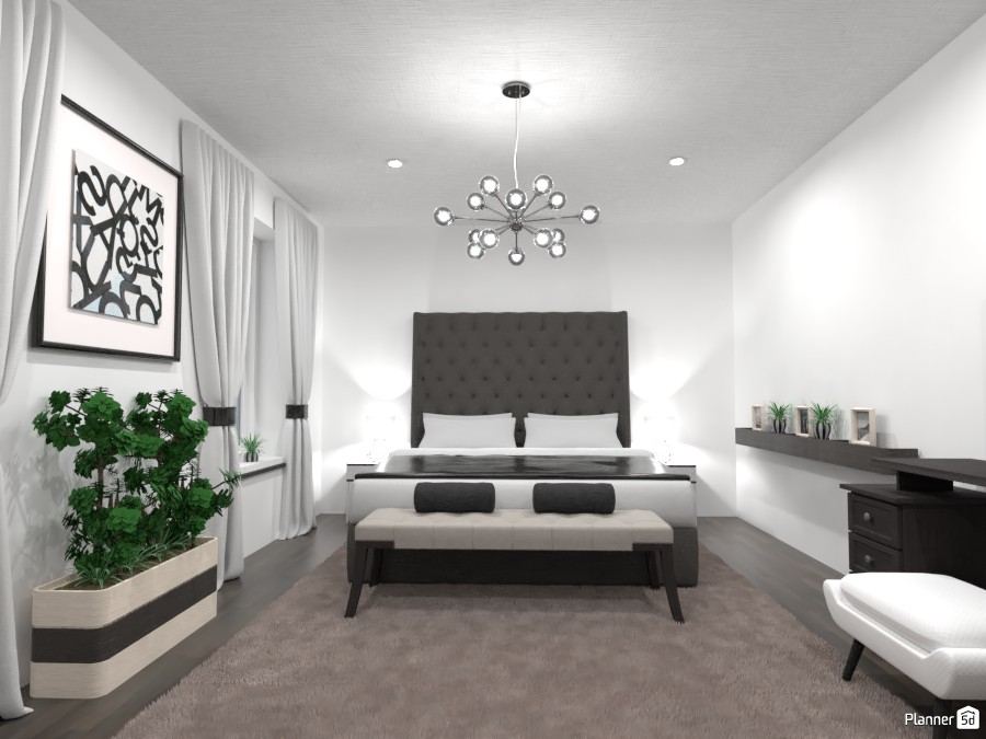 Luxurious bedroom: black and white 4351354 by Gabes image
