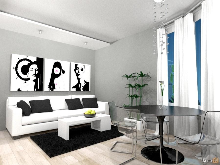 Гостиная-столовая-кухня - Apartamento ideas - Planner 5D