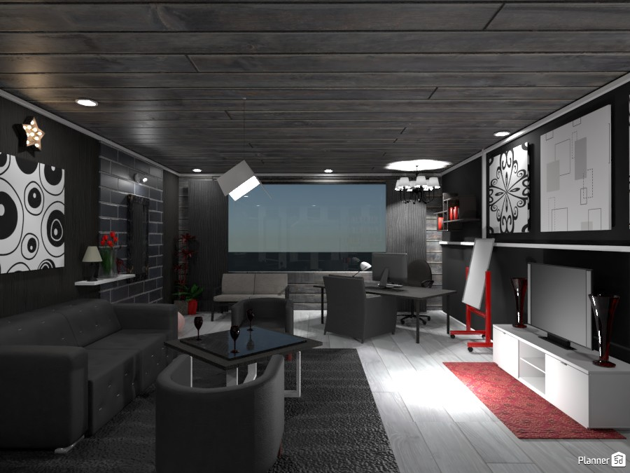 Black, White, and Red Office: