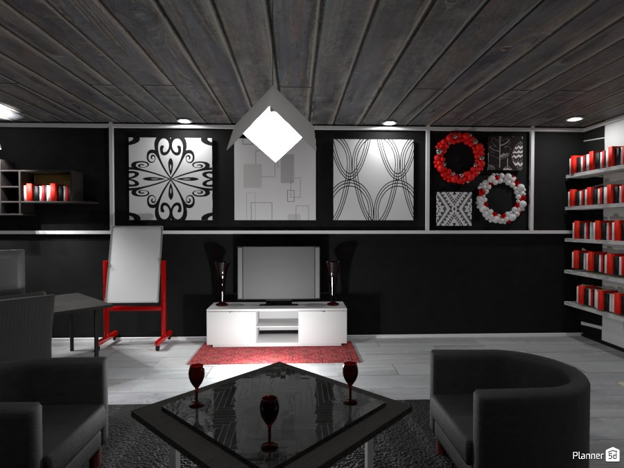 Black, White, and Red Office: Feature Wall 3712229 by Erin image