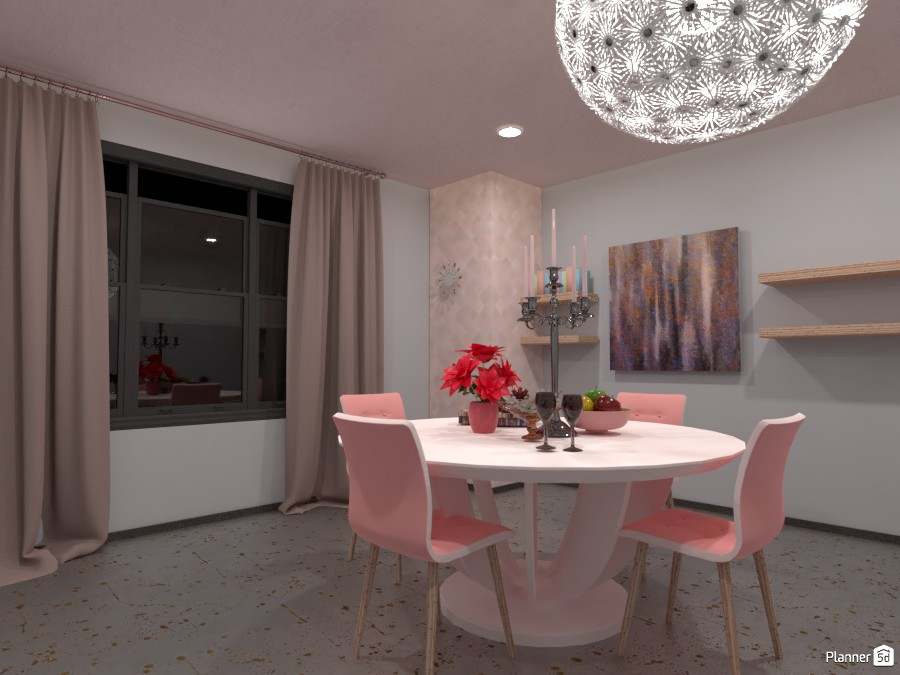 Pink themed dining room 4101029 by Art lover image