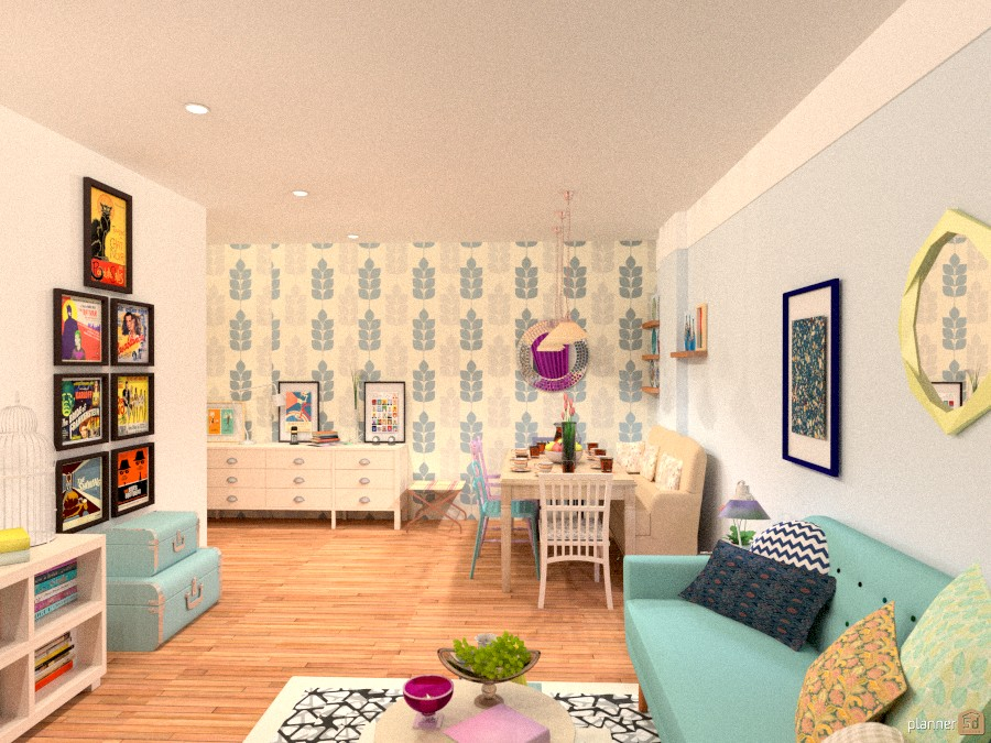 City Apartment No 48 Colorful Living Room With Dining Room Unique Apartment Decor Diy