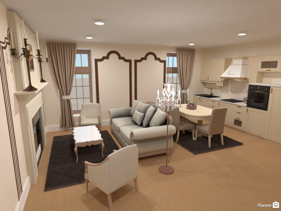 Cocina y sala de estar clásicas 3942930 by Hall Pat image