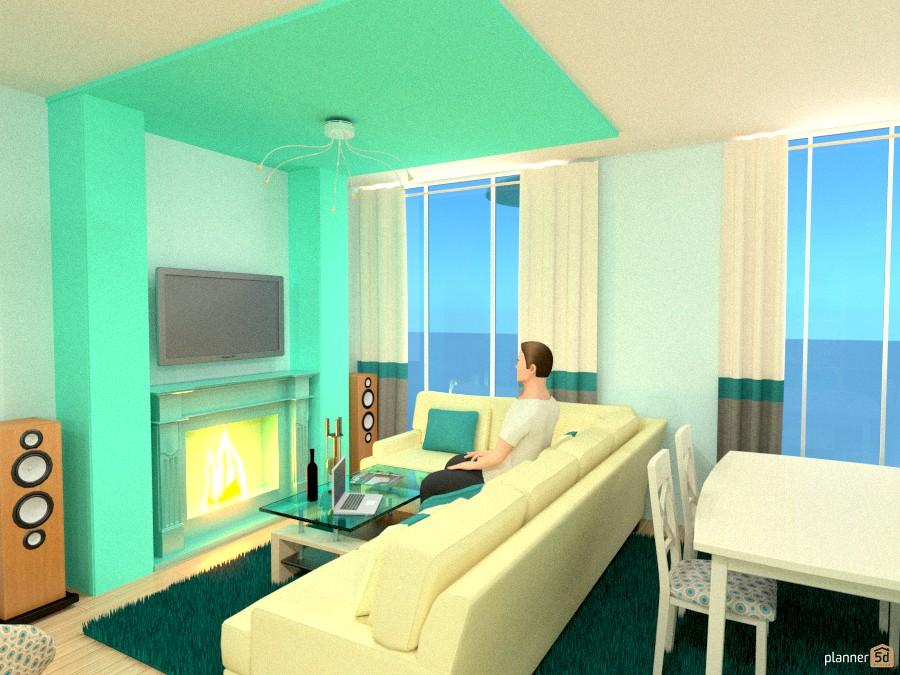 гостиная с камином и телевизором 759775 by Лилия Моисей image