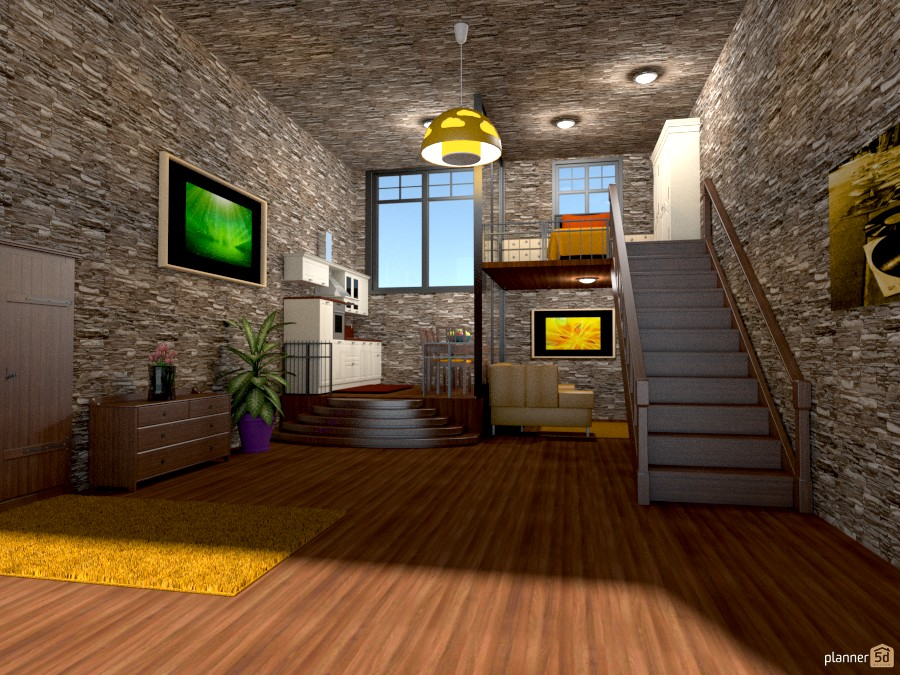 Shale loft apartamento ideas planner 5d for Cocina estar comedor