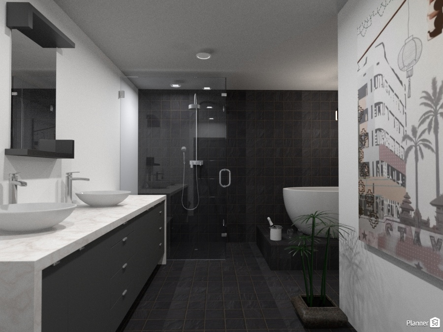 Black and white l shaped bathroom house ideas planner 5d for Kitchen design 5d