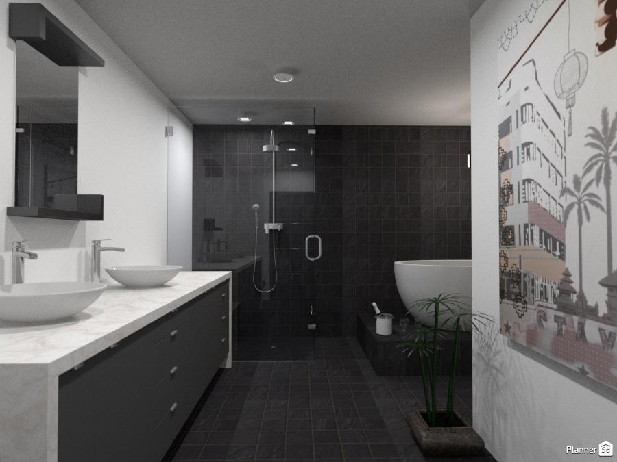 Black and white l shaped bathroom house ideas planner 5d for Bathroom design 5d