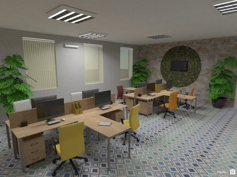 Open plan office in bright colours 3532301 by Didi image