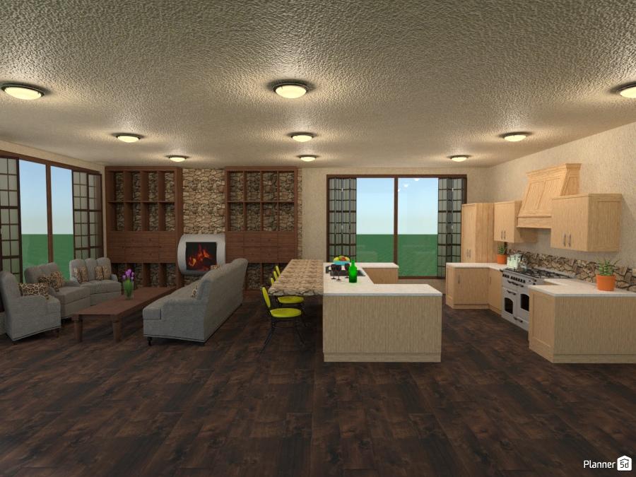 brick accent wall w shutters - House ideas - Planner 5D