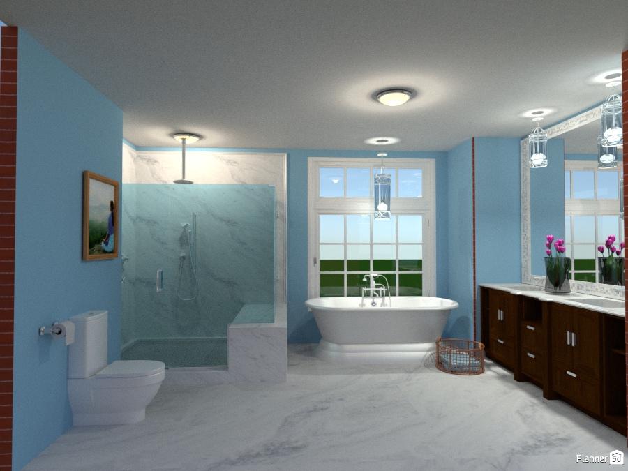 Industrial chic apartment master bath apartment ideas for Bathroom design 5d