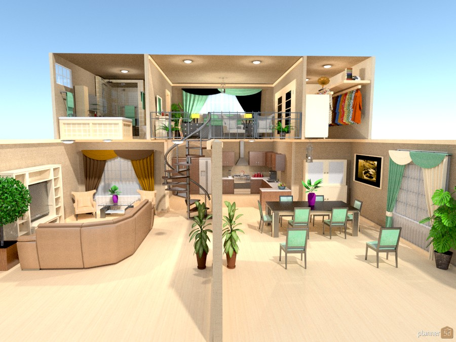 Open floor plan w loft ideas para apartamentos planner 5d for Diseno comedor sala de estar