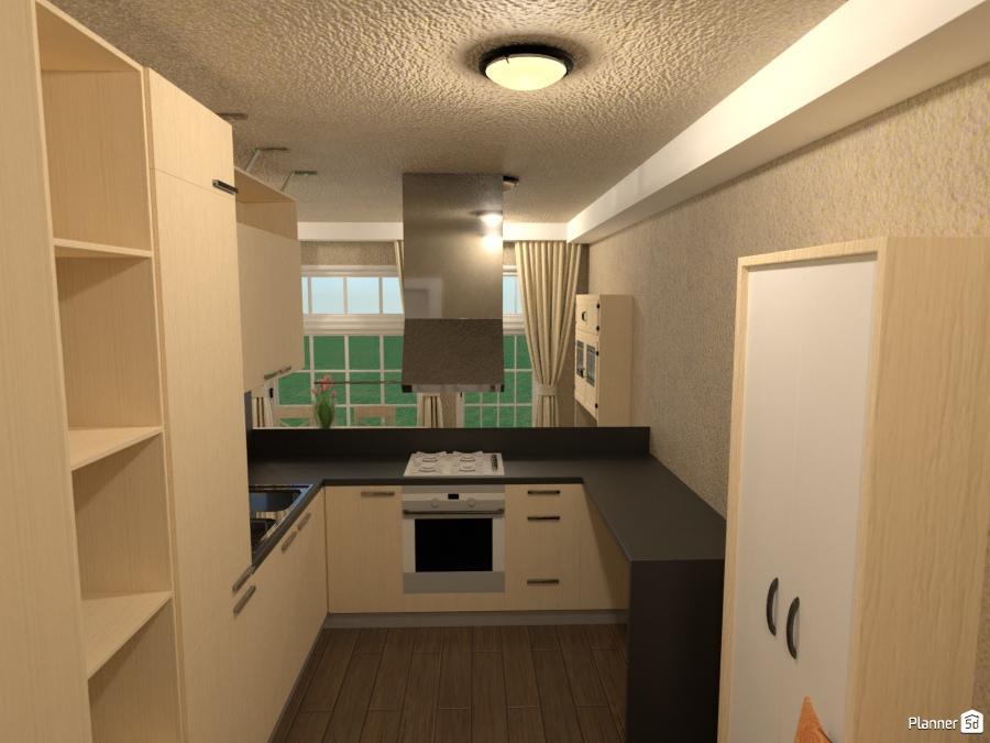 neutral toned dining, kitchen, livrm. - House ideas - Planner 5D