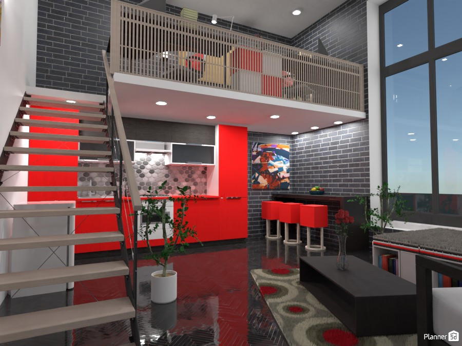 Space over 2 floors ... red and black 82936 by Gabes image
