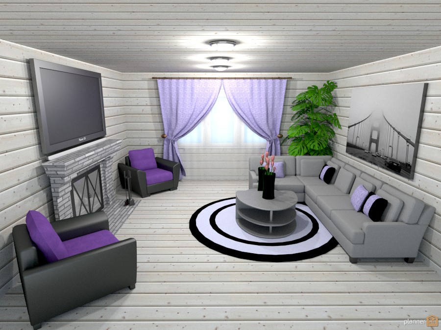 gray/lavender living room - Apartment ideas - Planner 5D