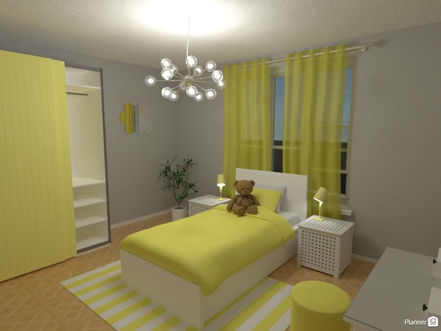 Girls Yellow Bedroom Free Online Design 3d House Ideas R S By Planner 5d