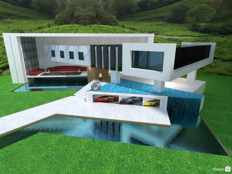 Modern House With Garage Pool Waterfall House Ideas