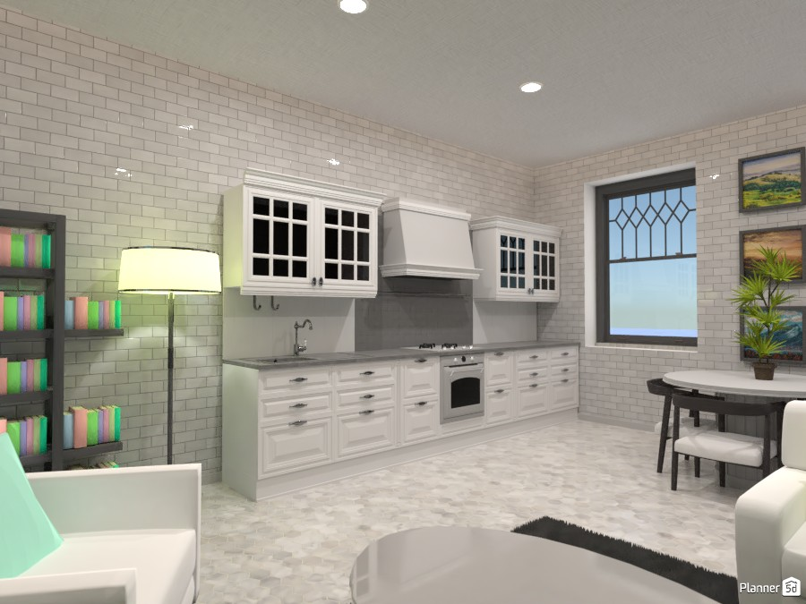 Pastel and gray living room and kitchen 83713 by Doggy image