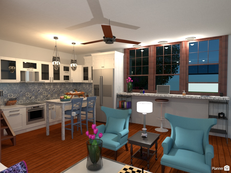 Seaside house kitchen and office area house ideas for Office design 5d
