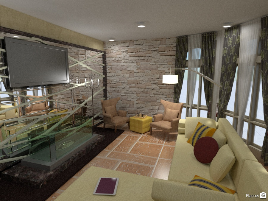 Living room with future mirrored wall - Apartment ideas - Planner 5D
