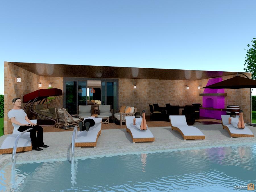 Porche con piscina apartment ideas planner 5d for Apartment terrace furniture