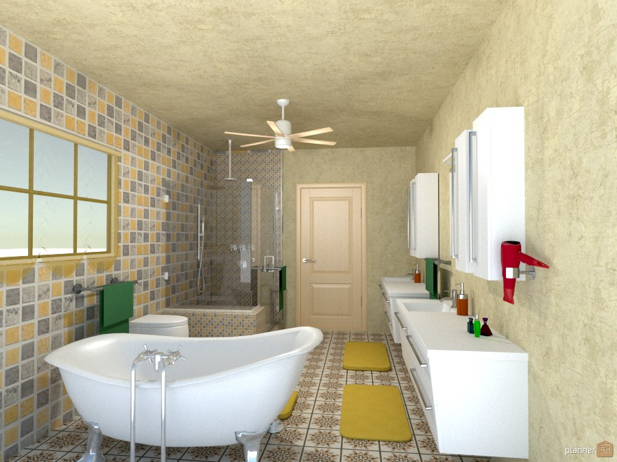 yellow/gray tile bath 850314 by Joy Suiter image