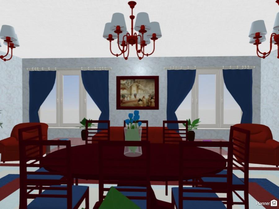 Дизайн интерьера гостиной в цветах российского триколора 71264 by Мария Кирпа image