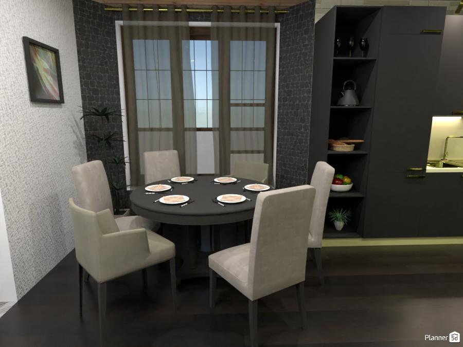 Black kitchen a dining room 4363069 by Rita Oláhné Szabó image