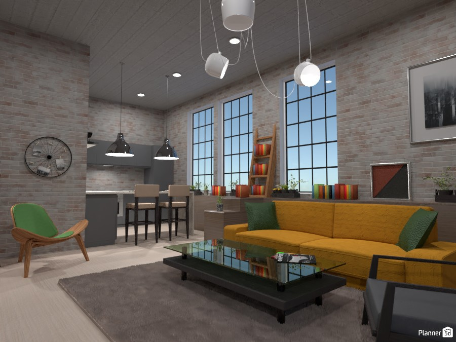 LOFT interior style: kitchen and living room 4149627 by Gabes image