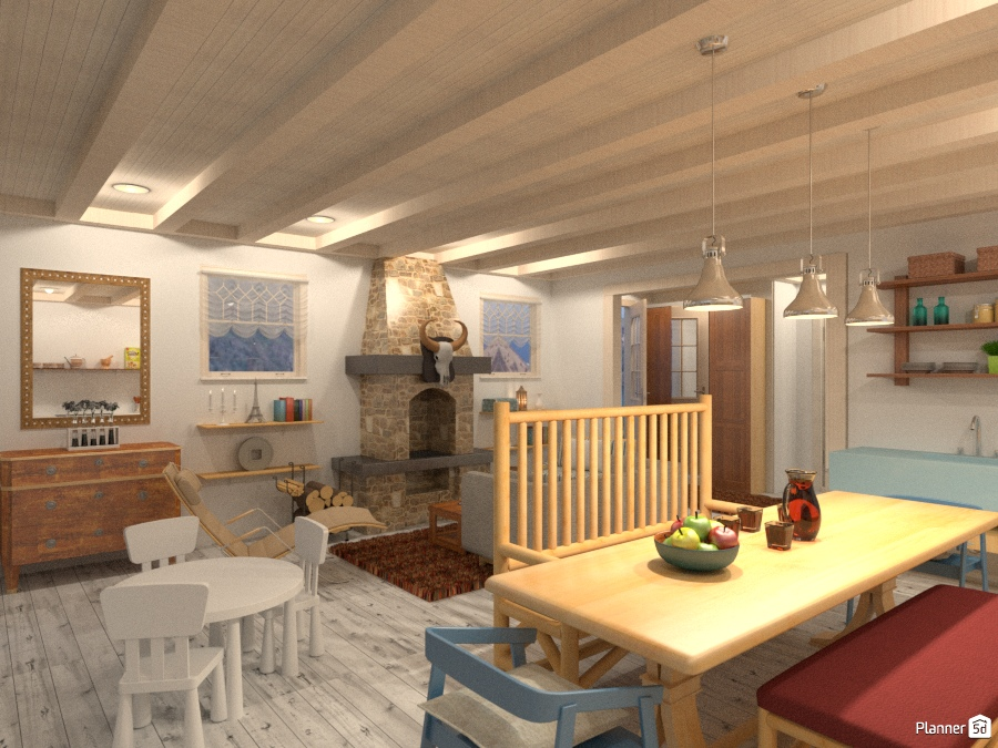 Living room and kitchen in a small beach cabin house for Beach cabin decor