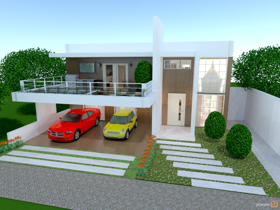 Casa luxuosa house ideas planner 5d for Casas con balcon y terraza