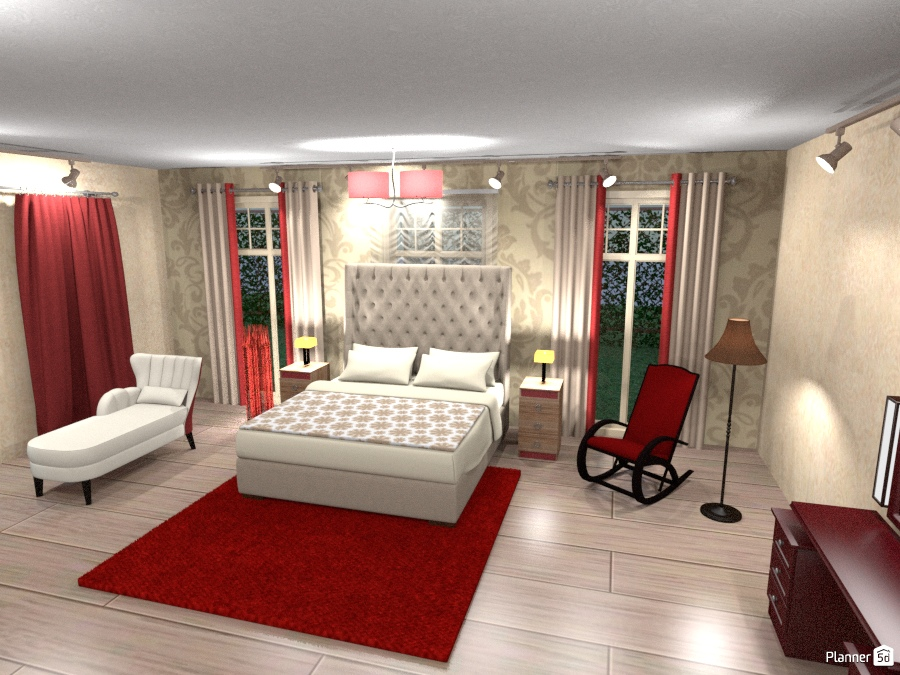 Bedroom Decor Red and beige colors - House ideas - Planner 5D on