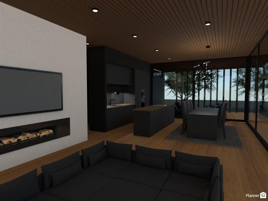 Sunken living room, kitchen & dining 3668650 by 3mil Designs image