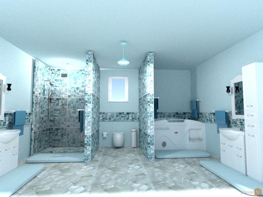 blue n wht tile bath 968089 by Joy Suiter image