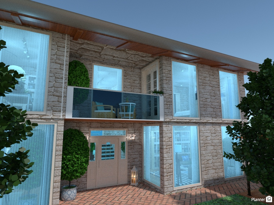 modern deteched house - glass and stones 68835 by Chiara Meazza image