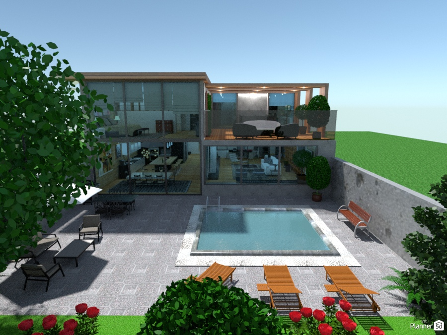 Villa With Glass Ceiling Free Online Design 3d House Ideas Marina Fragouli Marina Fragkoylh By Planner 5d