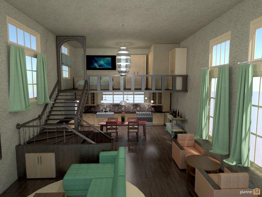 loft/tall windows/staircase - Apartamento ideas - Planner 5D
