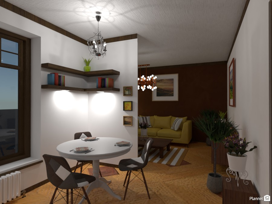 Kitchen and living room in the old town ... brown and white 83145 by Gabes image