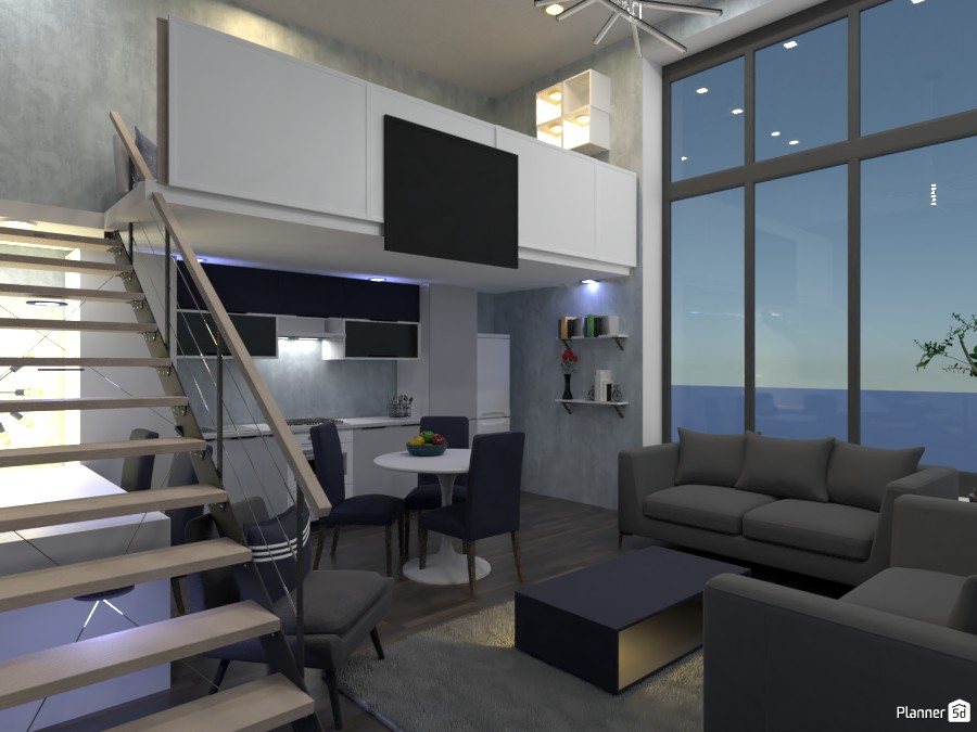 Living room, kitchen, office design.  Render 4 3684213 by Doggy (please vote) image
