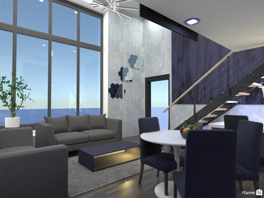 Living room, kitchen, office design.  Render 3 3684215 by Doggy (please vote) image
