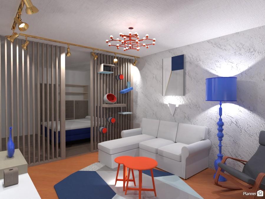 Постмодернисткий интерьер с акцентом на синий и терракотовый 4291493 by Хельга image