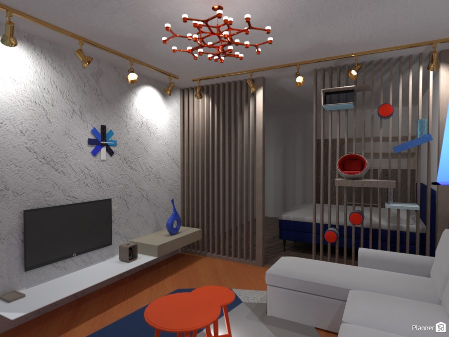 Постмодернисткий интерьер с акцентом на синий и терракотовый 4291504 by Хельга image