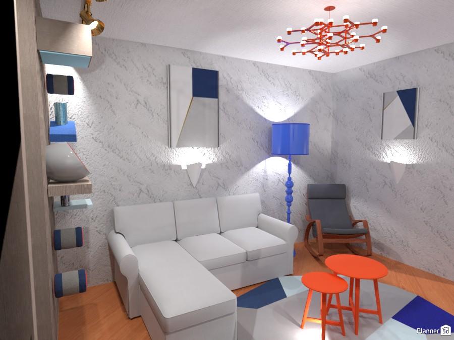 Постмодернисткий интерьер с акцентом на синий и терракотовый 4291510 by Хельга image